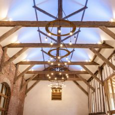 The enchanting ceiling in the High Barn at Bressingham Hall